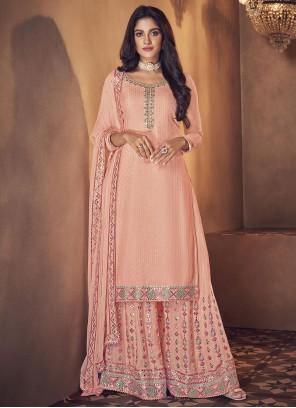 Pink Faux Georgette Designer Palazzo Salwar Kameez
