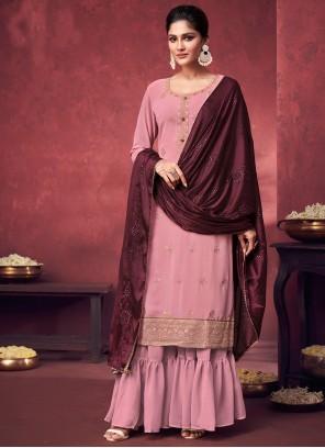 Faux Georgette Designer Palazzo Salwar Kameez in Pink