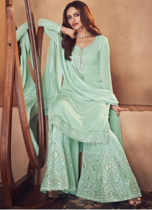 Sea Green Faux Georgette Designer Palazzo Salwar Suit