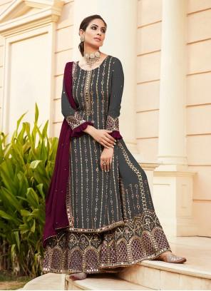 Faux Georgette Black Designer Palazzo Suit