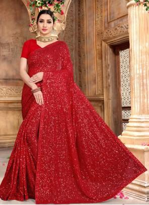 Red Faux Georgette Designer Saree