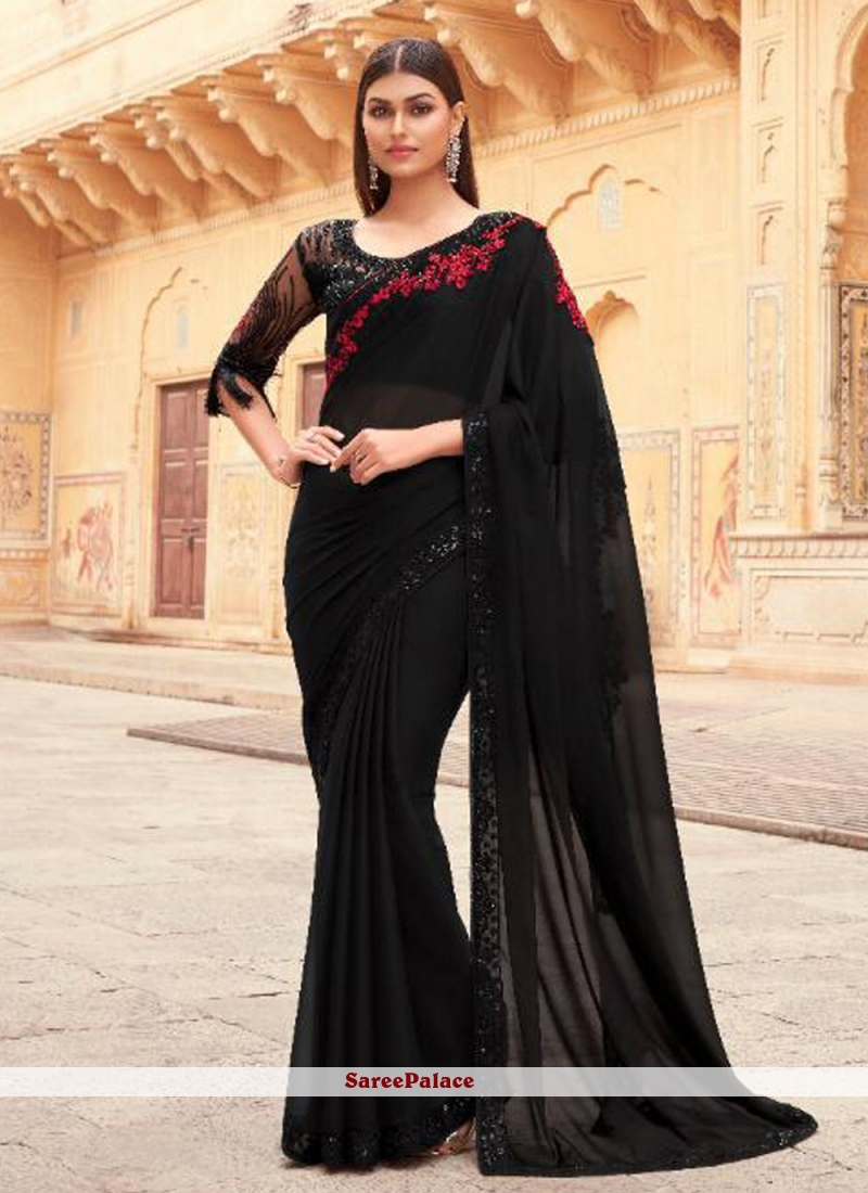 Faux Georgette Designer Saree in Black