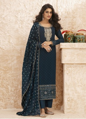Faux Georgette Designer Straight Salwar Suit in Blue