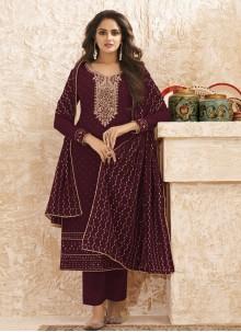 Faux Georgette Designer Straight Salwar Suit in Wine