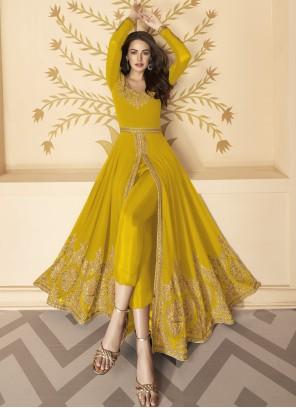 Mustard Faux Georgette Embroidered Anarkali Salwar Kameez