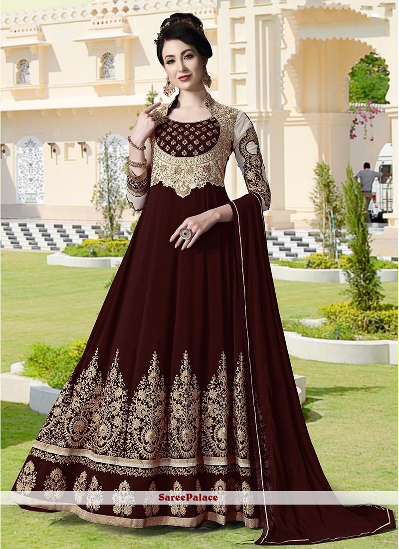 Faux Georgette Embroidered Anarkali Salwar Suit