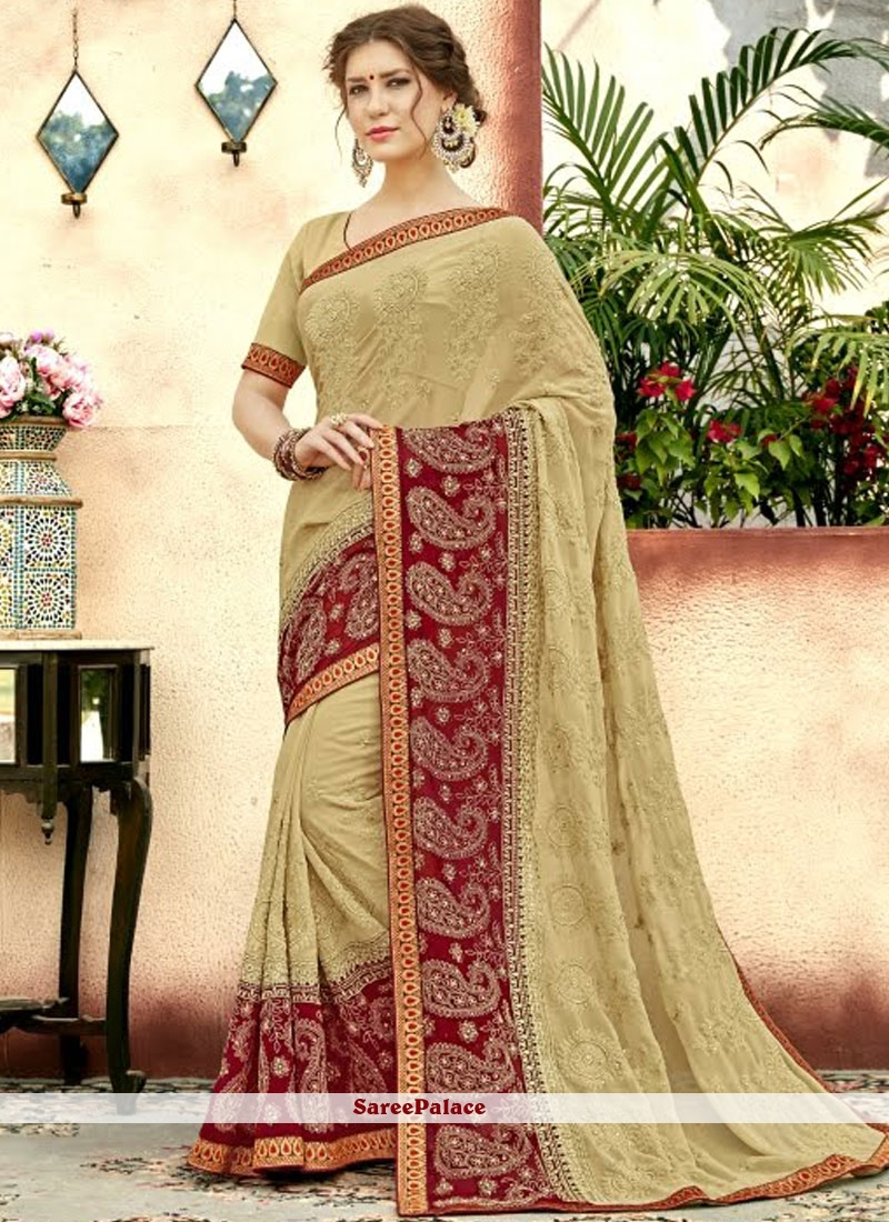 700c13d6a7 Buy Faux Georgette Embroidered Beige Classic Designer Saree Online