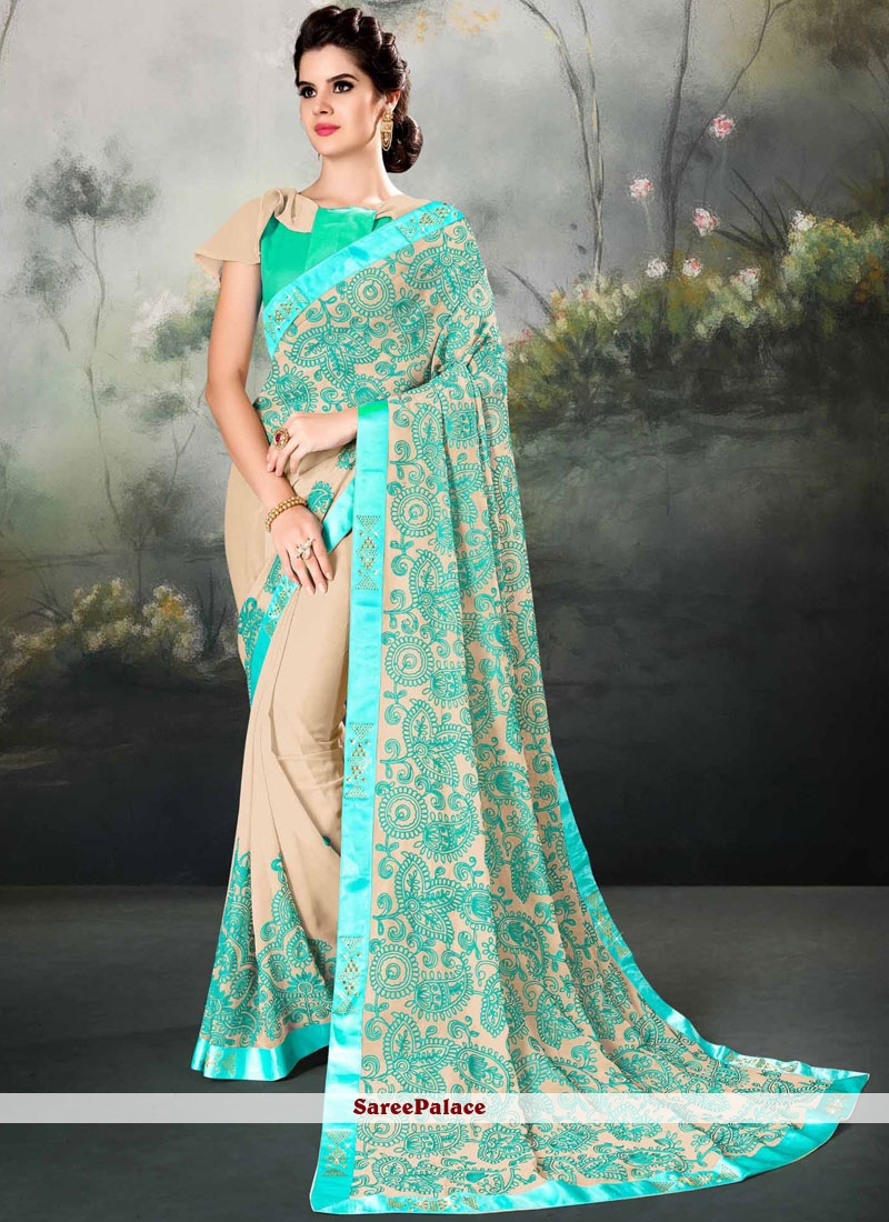 Faux Georgette Embroidered Beige Classic Saree