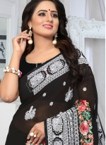Faux Georgette Embroidered Black Classic Saree
