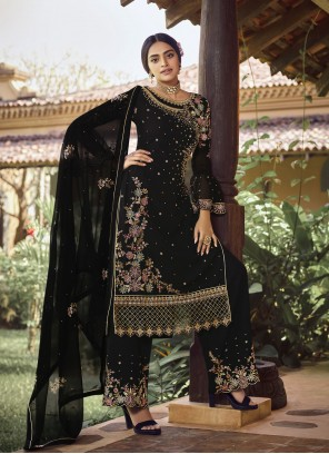 Faux Georgette Embroidered Black Designer Palazzo Suit
