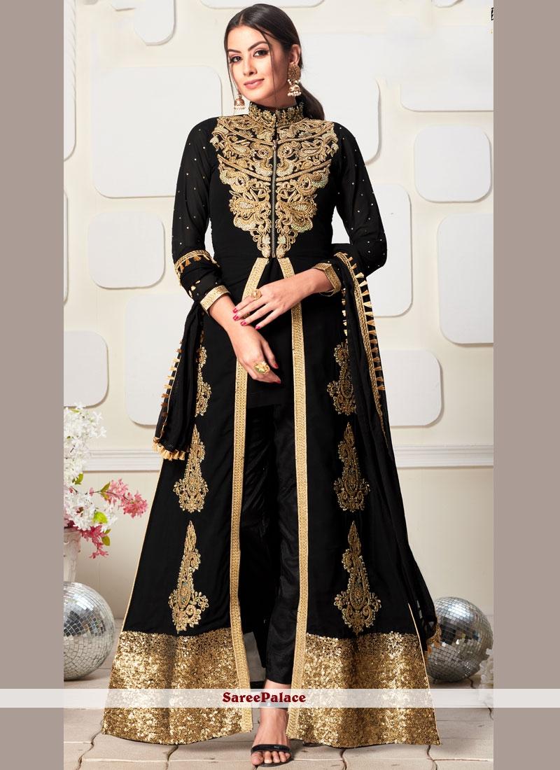 Faux Georgette Embroidered Black Designer Salwar Suit