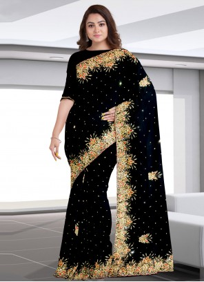Faux Georgette Embroidered Black Designer Traditional Saree