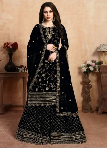 Faux Georgette Embroidered Black Palazzo Suit
