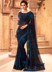 Faux Georgette Embroidered Blue Classic Designer Saree
