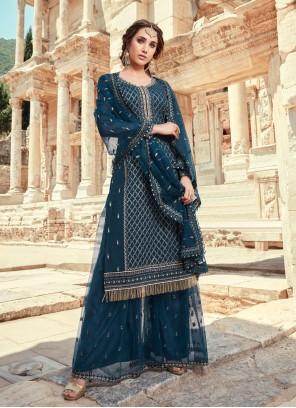 Faux Georgette Embroidered Blue Designer Pakistani Suit