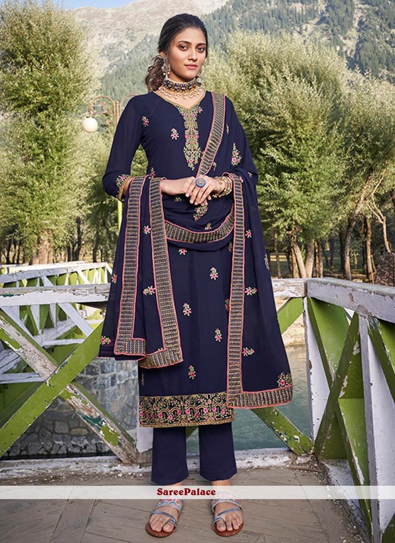 Faux Georgette Embroidered Blue Designer Salwar Suit
