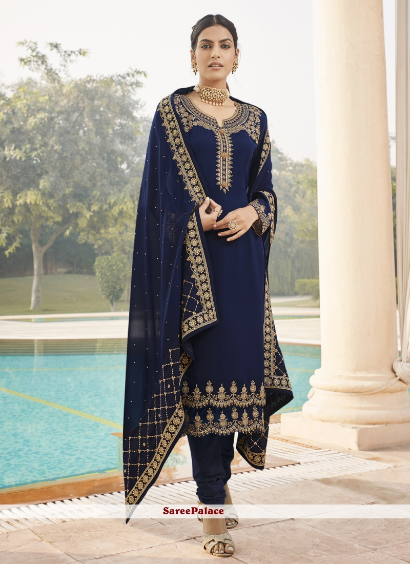 Faux Georgette Embroidered Blue Designer Straight Suit