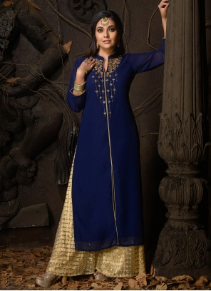 Faux Georgette Embroidered Blue Party Wear Kurti