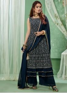 Faux Georgette Embroidered Blue Salwar Kameez