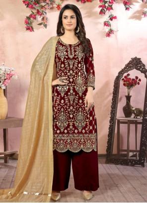 Faux Georgette Embroidered Bollywood Salwar Kameez in Maroon