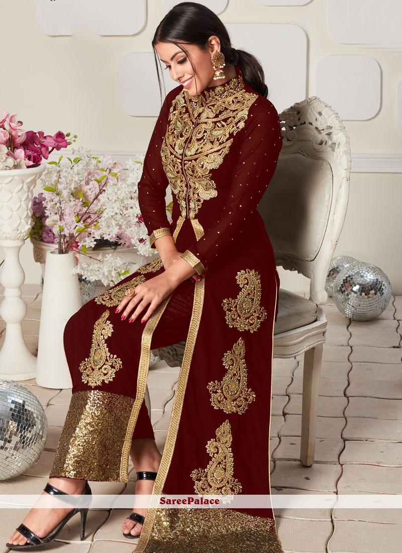 Faux Georgette Embroidered Brown Designer Salwar Kameez