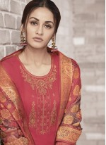 Faux Georgette Embroidered Churidar Designer Suit in Hot Pink
