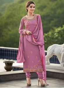 Faux Georgette Embroidered Churidar Salwar Kameez in Purple