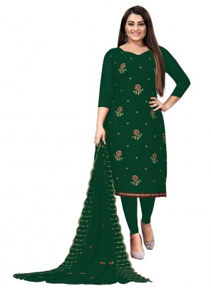 Green Faux Georgette Embroidered Churidar Suit