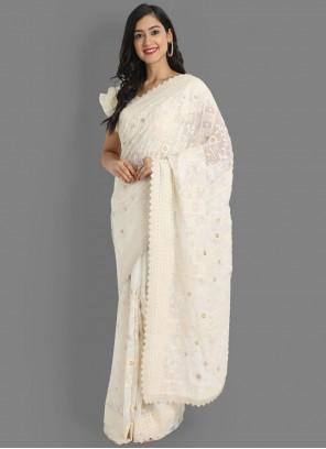 Faux Georgette Embroidered Classic Designer Saree in Off White