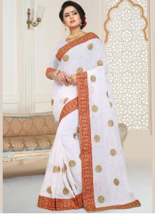 Faux Georgette Embroidered Classic Designer Saree in White