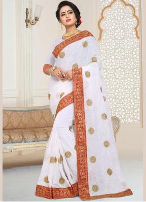 Faux Georgette Embroidered Classic Designer Saree in White