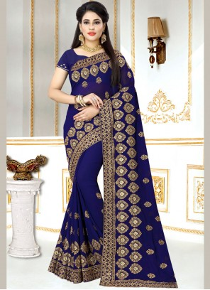 Blue Faux Georgette Embroidered Classic Saree