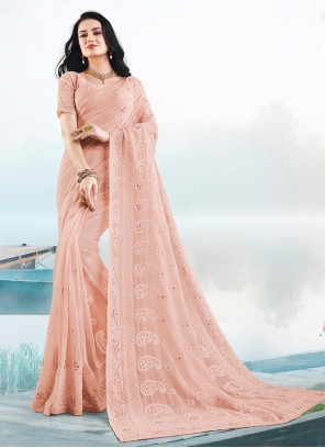 Faux Georgette Embroidered Peach Classic Saree