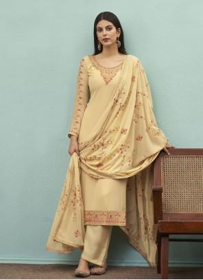 Faux Georgette Embroidered Cream Designer Pakistani Salwar Suit