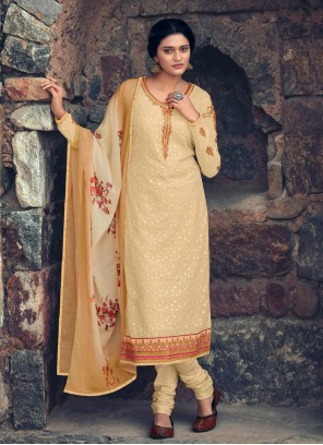 Faux Georgette Embroidered Cream Designer Straight Suit