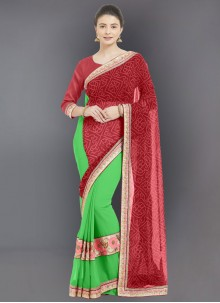 Faux Georgette Embroidered Designer Half N Half Saree in Red