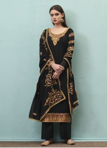 Faux Georgette Embroidered Designer Pakistani Salwar Suit in Black