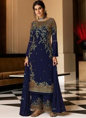 Faux Georgette Embroidered Designer Pakistani Salwar Suit in Blue