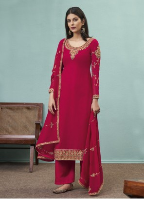 Hot Pink Faux Georgette Embroidered Designer Pakistani Suit