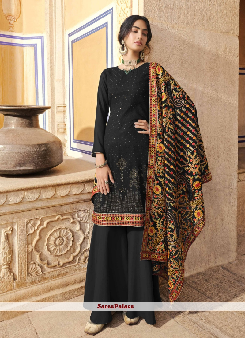 Faux Georgette Embroidered Designer Pakistani Suit in Black