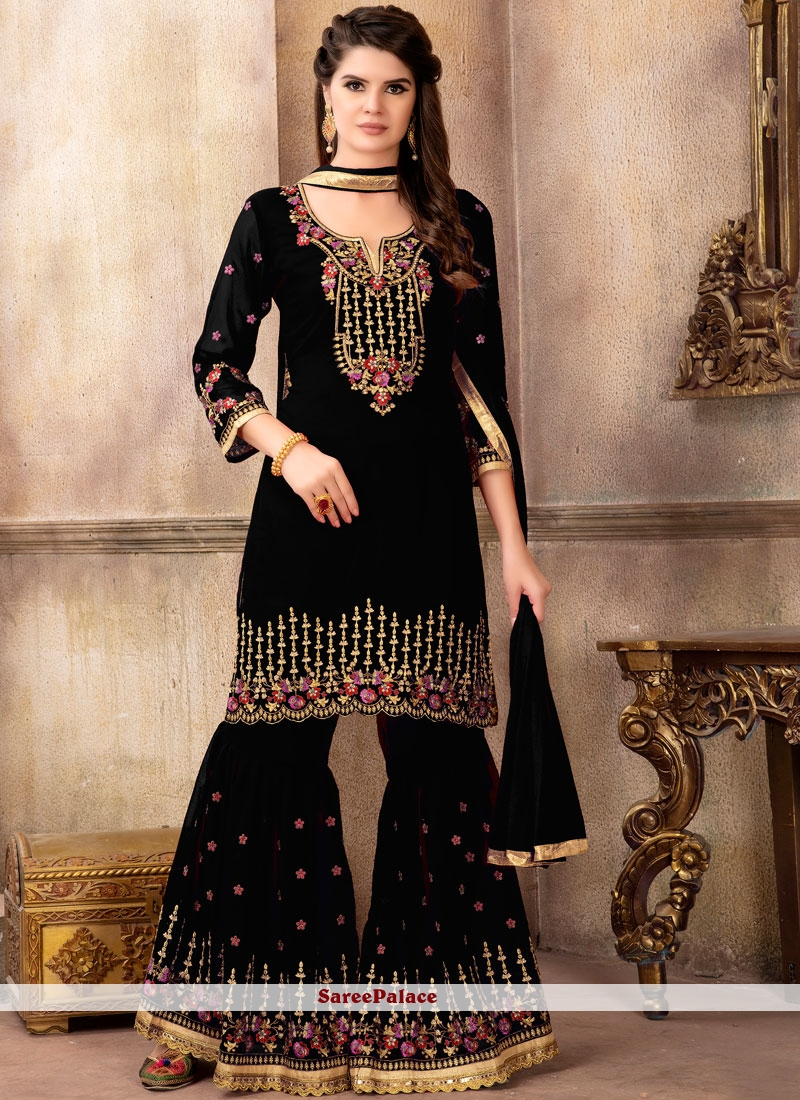 711eac4da7 Buy Faux Georgette Embroidered Designer Pakistani Suit in Black Online