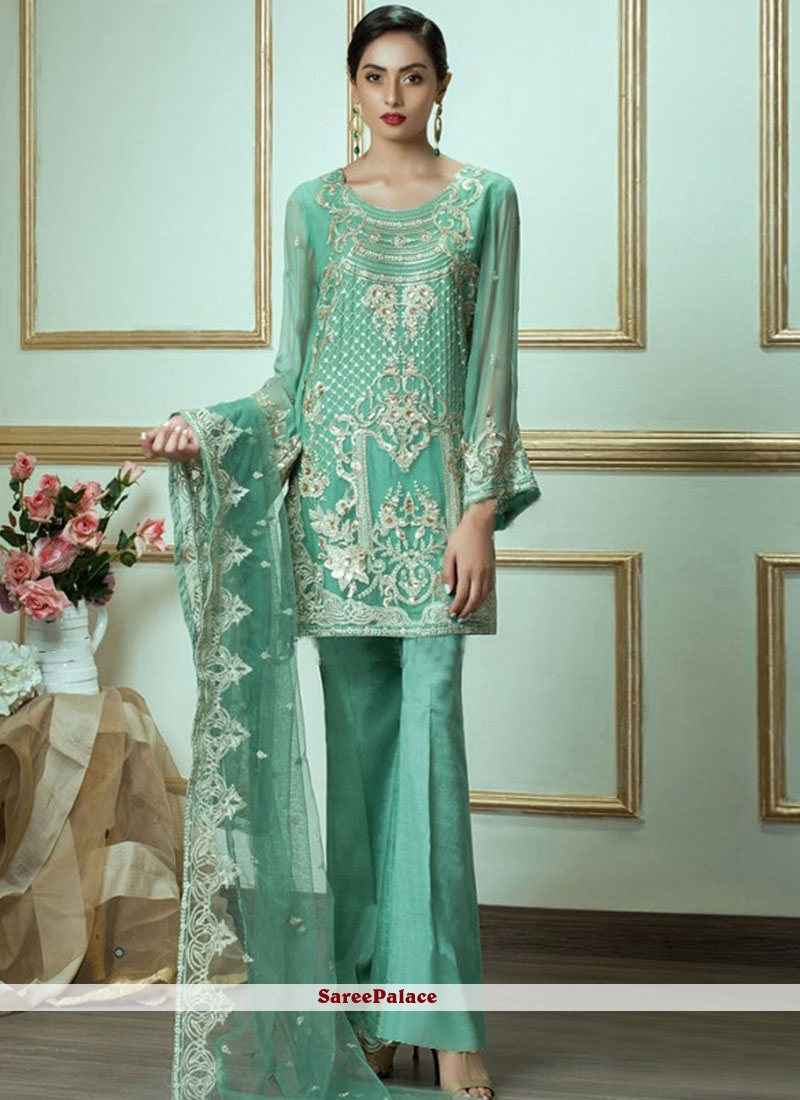 2ad0b709be Buy Faux Georgette Embroidered Designer Pakistani Suit in Sea Green Online