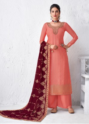 Faux Georgette Embroidered Designer Palazzo Suit