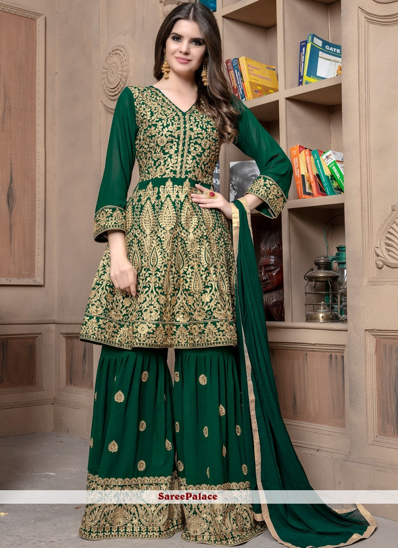 Green Georgette Embroidered Designer Palazzo Suit