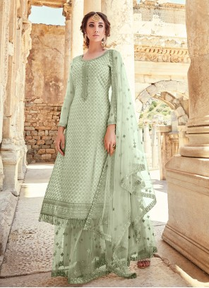 Faux Georgette Embroidered Designer Palazzo Suit in Green