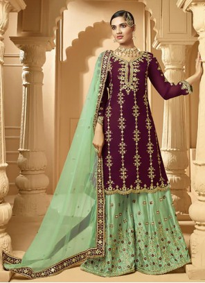 Faux Georgette Embroidered Designer Palazzo Suit in Green and Wine
