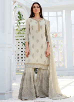 Faux Georgette Embroidered Designer Palazzo Suit in Off White