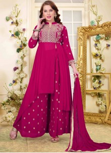Magenta Pink Faux Georgette Embroidered Designer Salwar Kameez