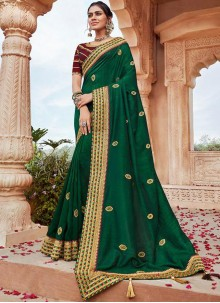 Faux Georgette Embroidered Designer Saree in Green