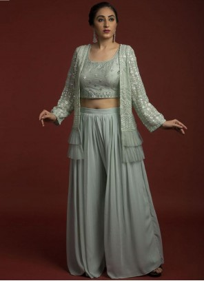 Grey Faux Georgette Embroidered Designer Suit